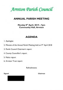 thumbnail of Annual Parish Meeting 2019 agenda